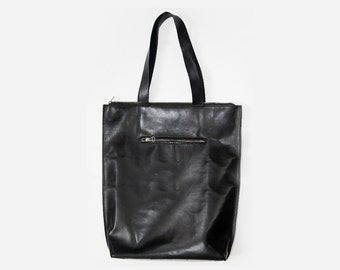 Black Amsterdam Tote - Handstitched leather Tote bag