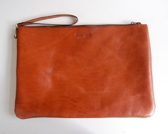 Cognac Charlie Bag (large) - Handmade Leather Clutch