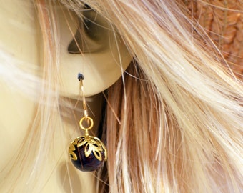Dark cranberry red earrings with brass filigree leaf caps and gold filled french wires ladies or teen