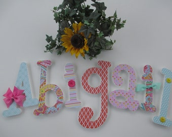 ABIGAIL - 12.00 per letter Girl's name, wooden nursery letters, whimsical font, hot pink, green, seafoam, yellow, buttons, bows, flowers