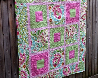 Custom Baby Quilt Using Bridesmaid Dress Fabric - Repurpose, Upcycled, Memory Quilt - 9 patch