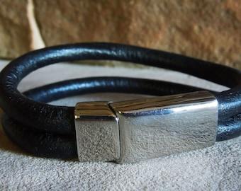 Steel & Leather  bracelet