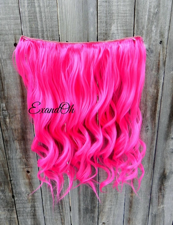Hot Pink Clip In Hair Extensions 106
