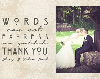Printable Wedding Thank You Card - Photo Card - Wedding Day - Wedding Thanks - Print Your Own