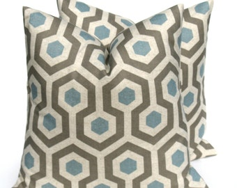 Blue Gray Pillow .Honeycomb.Blue Pillow .Blue Tan Pillow 18x18 throw pillow cover printed fabric on front and back   Blue Cushion Covers