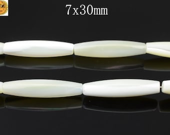 15 inch strand of MOP,mother of pearl smooth rice beads 7x30 mm