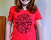 Funky Girls Tshirt. Red Kids Shirt. Organic Cotton and Bamboo. Limited Edition