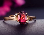 Engagement Ring -  0.6 Carat Rubellite Tourmaline Engagement Ring With Diamonds In 14K Rose Gold