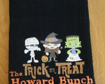 trick or treat halloween personalized kitchen towel halloween kitchen decor halloween decoration fall - Halloween Kitchen Decor
