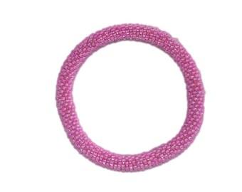 Neon Orchid Beaded Bracelet, Czech Seed Beads, Crocheted in Nepal, NB11
