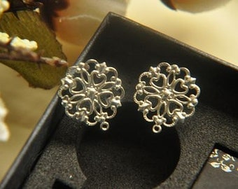 10 pcs raw brass plating silver filigree  earring    pendant finding
