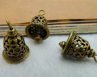 3PCS antique bronze 12x16mm 3D small bell charm pendant- WC2306
