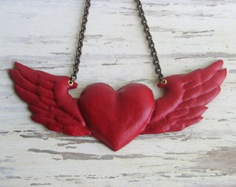 Red Leather Heart and Wings Necklace
