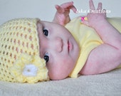 Crochet Baby Hat, Baby Photo Prop, yellow color, baby girl hat, Photography Prop, available in different sizes.