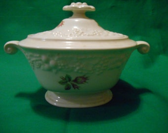 One (1), Sugar Bowl with Lid, from Homer Laughlin, in the Theme-Off White, Rose Pattern.