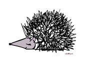 Porcupine - Elle Karel Original Illustration Print on 100% PC Recycled Paper Forest Needles Black Mountain Gray