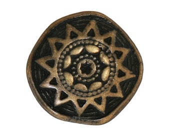3 Sun Star 7/8 inch ( 22 mm ) Metal Buttons Antique Brass Color