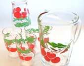 Vintage Pitcher and Juice Glass Set With Red Cherries Green Leaves Four Glasses Cottage Chic Shabby Chic