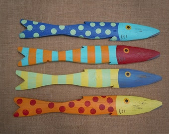 Set of 4 Hand Painted Picket FISH Art Reclaimed Wood Beach Cottage Cabin Decor