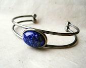 Lapis Lazuli Bracelet. Gemstone Bracelet. SIlver Cuff Bracelet. Natural Bangle Bracelet with Royal Blue and Pyrite Stone. Talisman Jewelry.