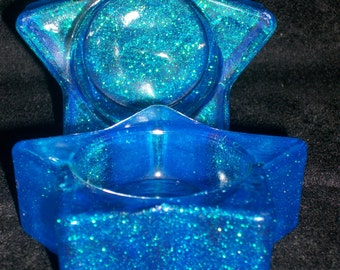 Blue Sparkle Star Candle Holders