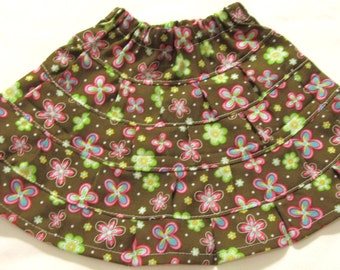 Cute Brown Prairie Skirt with Flowers for American Girl doll