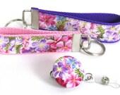 Flower Key Chain, Key Fob,  Wristlet, Badge Reel