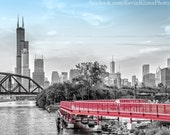 Chicago art photo print - skyline view over the river from Chinatown - art photography