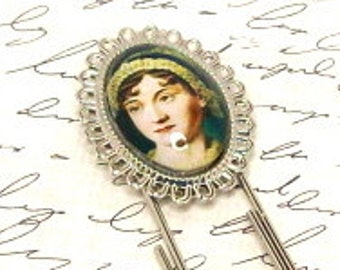 Jane Austen Large Paper Clip Bookmark, Literary Bookmark, Altered Art Bookmark, Picture Charm Bookmark