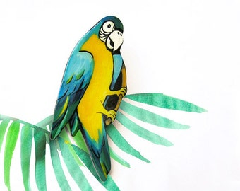 Sale Brooch Tropical Ara Parrot, statement brooch, bright jewelry, macaw, funny holiday jewelry, multicolor, blue, yellow