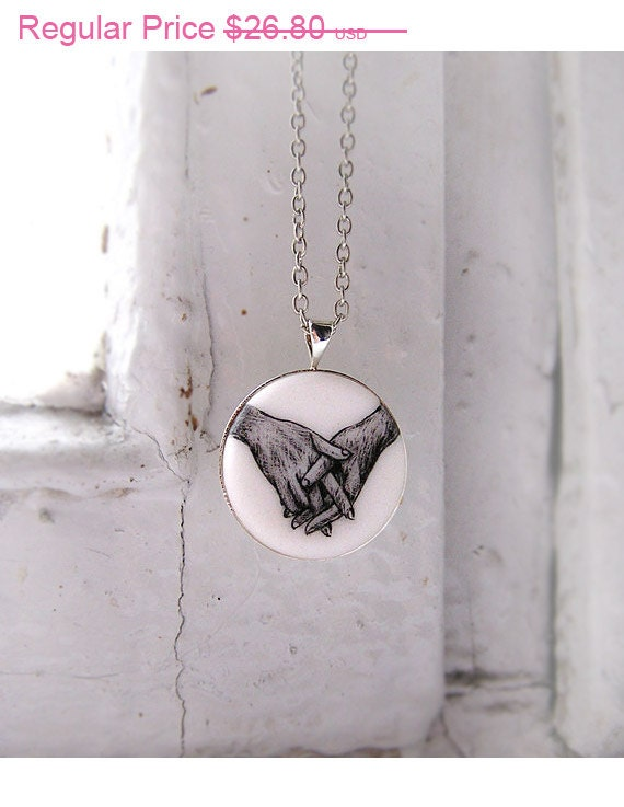 """SALE. Necklace """"Hands"""" small, black&white, miniature, """"silver"""" tone accessories, wedding jewelry, Christmas in July"""