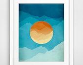 Mid Century Art Print, Modern Wall Art, Gift for Men, Mountain Art, Abstract Landscape, Mid Century Modern, Minimalist Poster, Blue, Orange