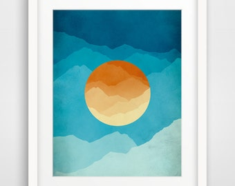 Mid Century Art Print, Modern Wall Art, Gift for Men, Mountain Art, Abstract Landscape, Mid Century Modern, Minimalist Poster, Blue, Orange
