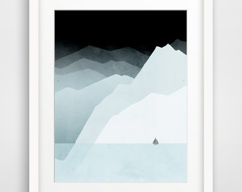 Wall Art, Mountain Print, Minimalist Art, Winter Landscape, Gift for Him, Boyfriend Gift, Scandinavian Modern Art, Neutral Art, Iceland