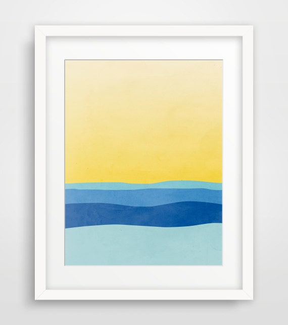 Beach decor wall art modern abstract art print minimalist for Minimalist art decor