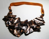 Falling leaves.Necklace. copper statement necklace on a silk ribbon. metalwork.  handmade women's fashion jewellery