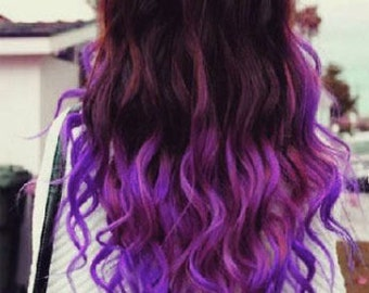 Purple Ombre Clip In Synthetic Heat Safe Extensions