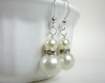 Bridesmaids earrings ivory white pearl earrings silver and ivory rhinestone dangle drops