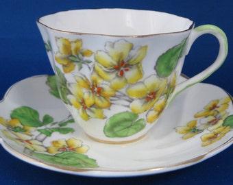 Salisbury Geranium Cup And Saucer Hand Painted Enamel 1930s Vintage Teacup Tea Party