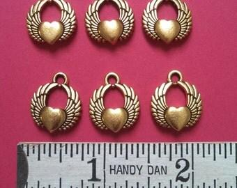 6 TierraCast  winged hearts antique gold color (CS6-134)
