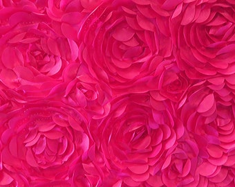 Satin Petal Rosette Hot Pink 58 Inch Fabric by the Yard, 1 yard.