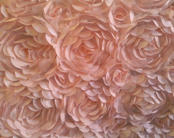 Satin Petal Rosette Pink 58 Inch Fabric by the Yard, 1 yard.