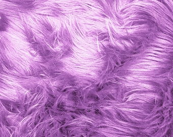 Faux/Fake Fur Luxury Shag Lavender 58 Inch Fabric by the Yard - 1 Yard