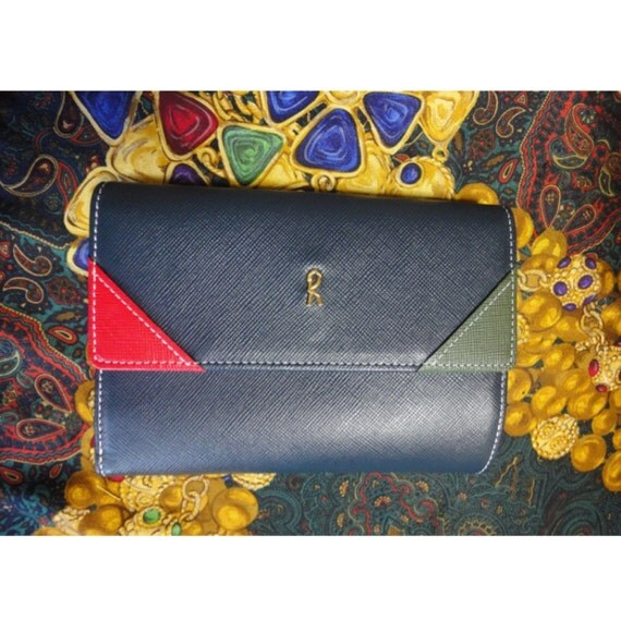 Vintage Roberta di Camerino tri-color leather wallet with a gold tone R charm