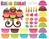 Clipart - Bake Sale / Birthday (make your own) Cupcakes - Digital Clip Art (Instant Download)