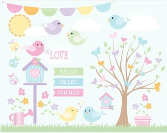 Spring Garden Clipart, Summer, bird cages, butterfly, birdhouse - vector graphics, digital clip art, digital images, commercial use clipart