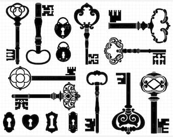 Digital Stamps - Skeleton Keys (Black) Silhouettes - Digital Clip Art (Instant Download)
