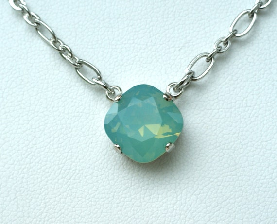 Swarovski Crystal 12MM Necklace -  One Stone Cushion Cut Pendant   Designer Inspired - Pacific Opal -  Sparkle & Shimmer - FREE SHIPPING