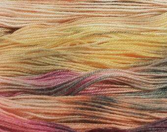 Yarn Hand Dyed Wool Pink Magenta Gold Yellow Rust Superwash 2415