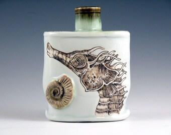 Handpainted Seahorse Vase/Bottle, Handmade Porcelain